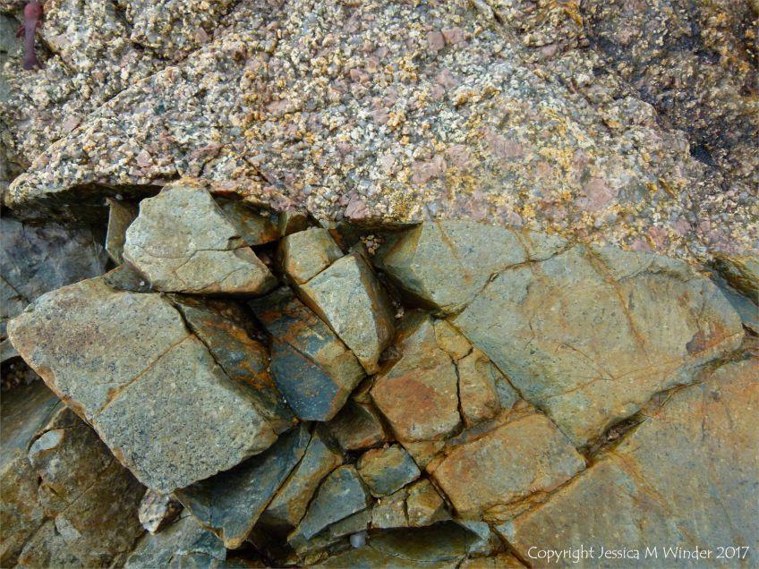 Juxtaposition of granite and intrusive dike material