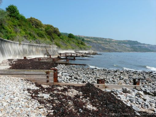 Old wooden breakwaters with rusty iron fittings on the sea shore
