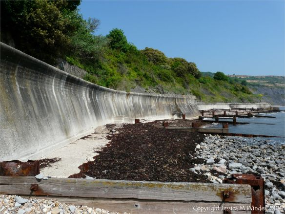 The sea defences at Church Cliff in Lyme Regis back in June 2010