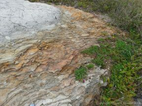Context shot showing iron-rich rocks from which the beach stream with iridescent film issued