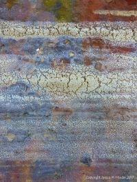 Pattern and texture of dried sea foam on rusty iron