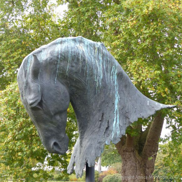 """Into the Wind"" bronze sculpture by Nic Fiddian-Green (Sladmore Gallery) in Kew Gardens"