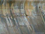 Detail of natural staining pattern on a concrete sea wall