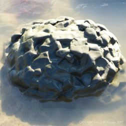 Interesting boulder in a pool of sea water looking like a piece of abstract sculpture