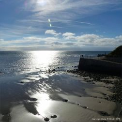 View from the new sea wall at Lyme Regis in Dorset, England.