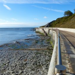 View looking west from the walkway on the new sea wall at Lyme Regis