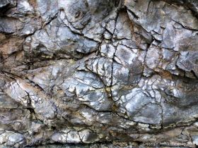 Detail of of hornblende schist at Polurrian Cove in Cornwall