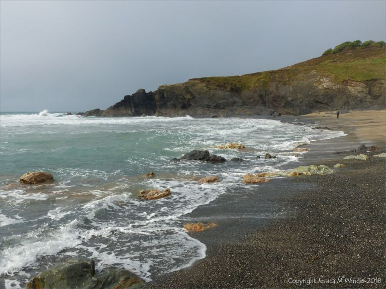 View looking north at Polurrian Cove towards the Devonian meta-sedimentary rocks of the Porthscatho Formation
