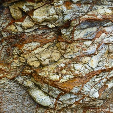Detail of rock pattern and texture in a fault zone