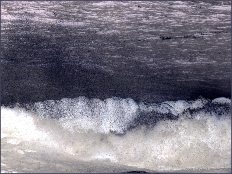 The crest of a breaking wave