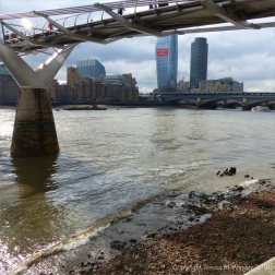 View looking westwards and upstream of the Thames from below the Millennium Bridge