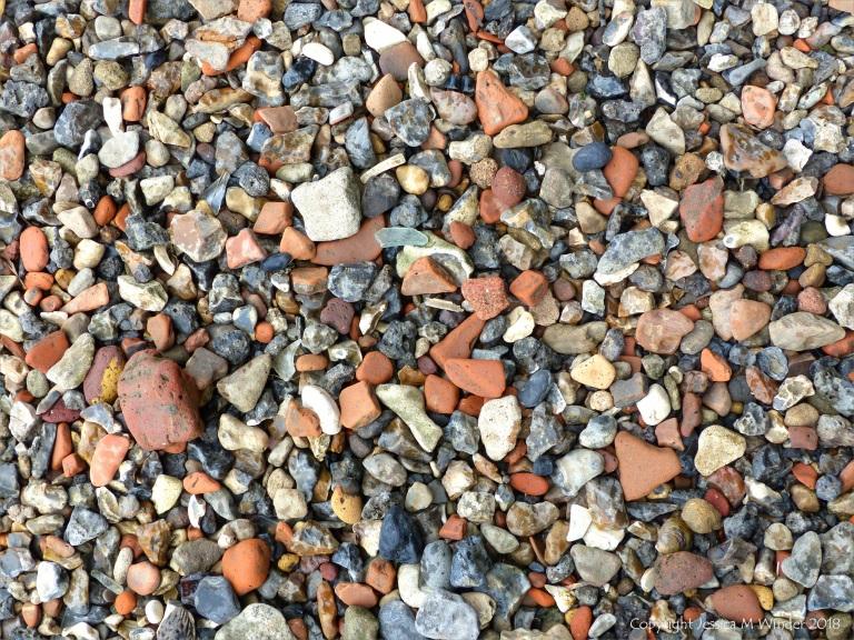 Composition of an urban riverside beach