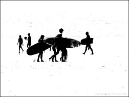 Black and white image of people with surf boards on the water's edge at the beach