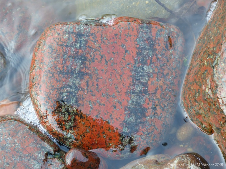 Pebble in a beach stream at Kennack Sands