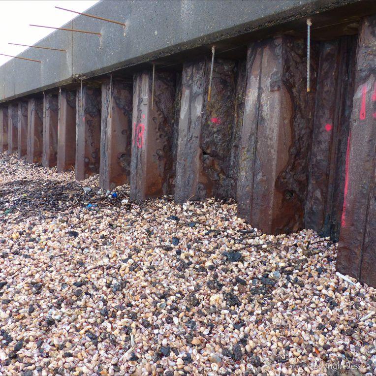 Seashell drift with slag and clinker