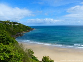 View looking down to Carbis Bay from the cliff-top path