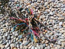 Multicolour fishing rope washed up on a pebble beach