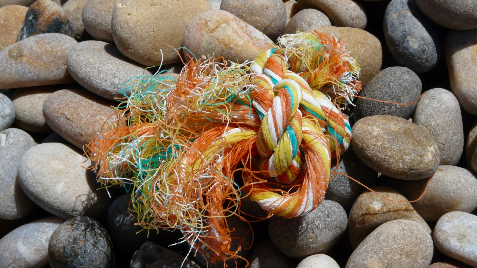 Orange multicolour knotted rope washed up on a pebble beach