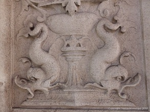 Stone carvings of dolphins