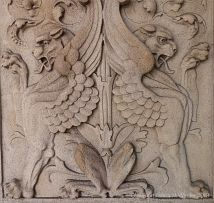 Stone carving of mythical beasts