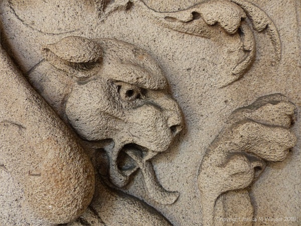 Stone carving of a mythical beast