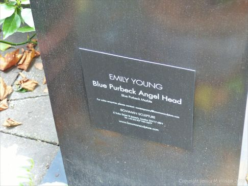 Plinth label for Emily Young sculpture