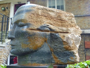 Blue Purbeck Angel Head sculpture by Emily Young