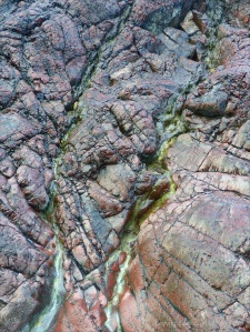 Close-up image red serpentine rock
