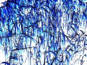 Design with blue barley motif