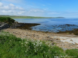 View looking west across Sands of Evie from Point of Hellia in Orkney