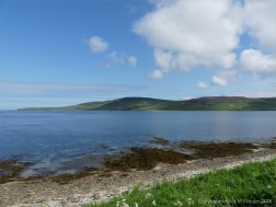 Looking north towards Rousay island from Point of Hellia in Orkney