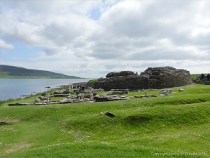 Looking east at the Broch of Gurnes from Point of Hellia in Orkney