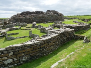 Broch of Gurness archaeological remains in Orkney constructed with Stromness Flagstone 2000 years ago