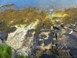 Looking down to the shore at Broch of Gurness at Point of Hellia in Orkney