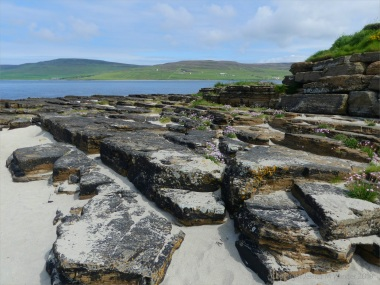Stepped rock strata at Point of Hellia in Orkney