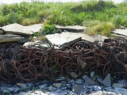 Sea defence structure of rusty iron rings at Grit Ness