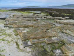 Layers of Upper Stromness Flagstones on the beach at Grit Ness