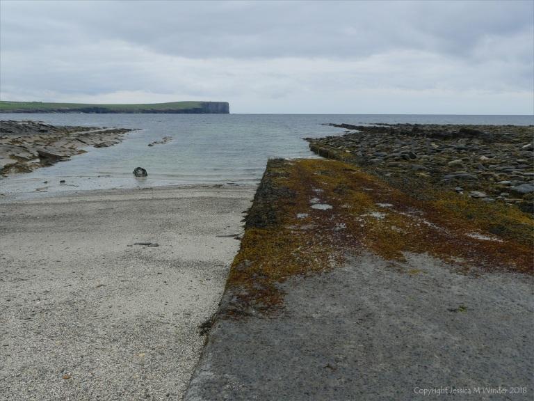 Seaweed-covered slipway at Birsay
