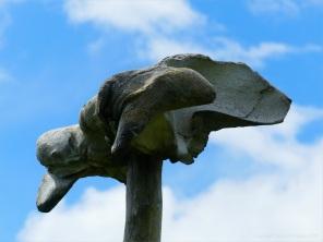 Whale bone on a pole at Dingieshowe Bay