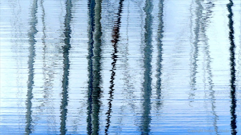Reflection of rigging on water