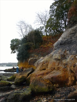 Coloured cliff rocks at Studland Bay