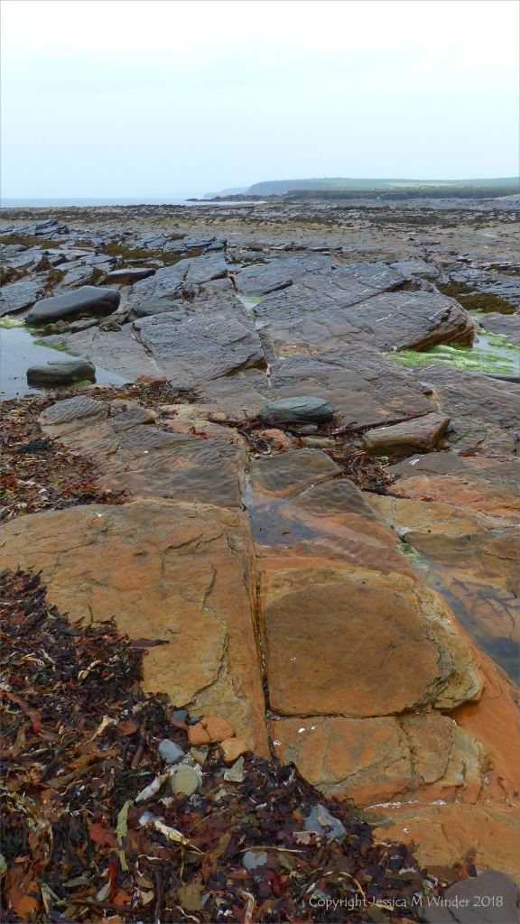 Rocks in the rain at Birsay Causeway in Orkney