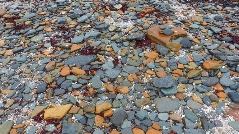 Beach stones at Birsay Causeway in Orkney