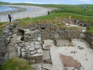 The remains of neolithic buildings at Skara Brae in Orkney