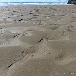 Mega ripples with hollows in wet sand