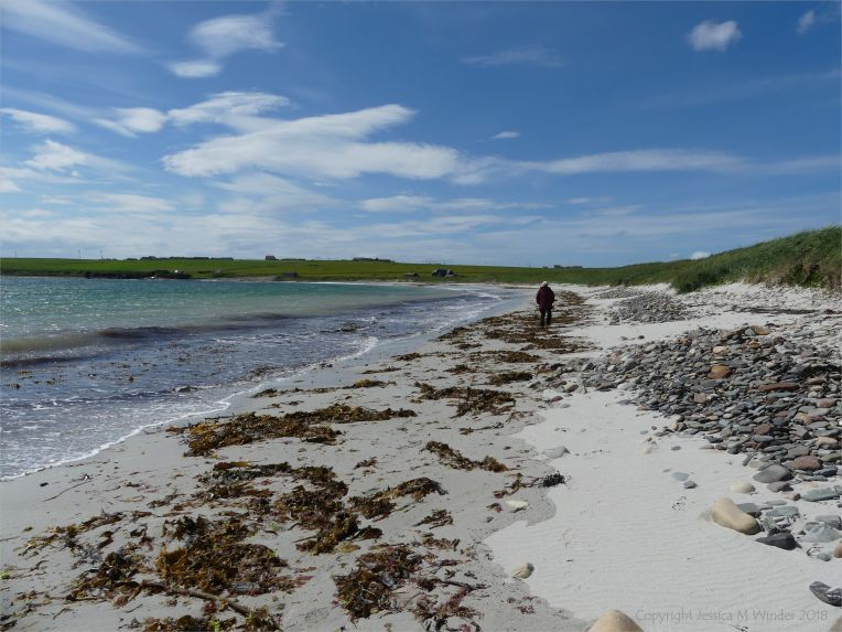 View of Newark Bay in Orkney looking west rom beach level