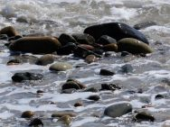 Wave-washed pebbles on the water's edge