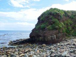 Cliff of Old Red Sandstone Supergroup rocks at Newark Bay in Orkney