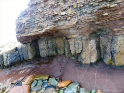 Devonian sedimentary cliff strata on the west side of Newark Bay in Orkney