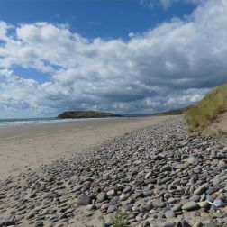 Rhossili beach showing pebbles